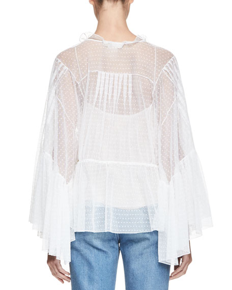 Embroidered Tulle Bell-Sleeve Blouse, Milk