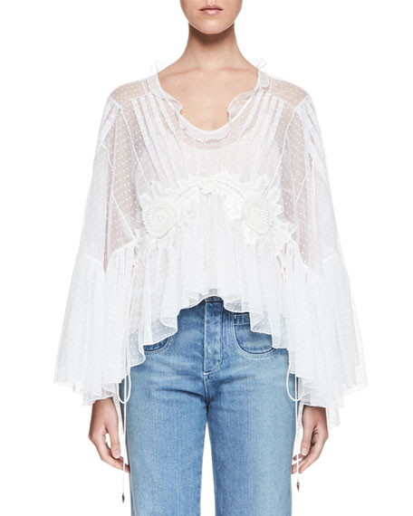 Chloe Embroidered Tulle Bell-Sleeve Blouse, Milk
