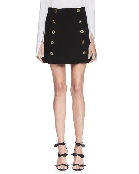 Chloe Metal-Button A-Line Skirt, Black