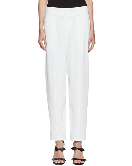 Chloe Pompom-Trim Wide-Leg Pants, Milk