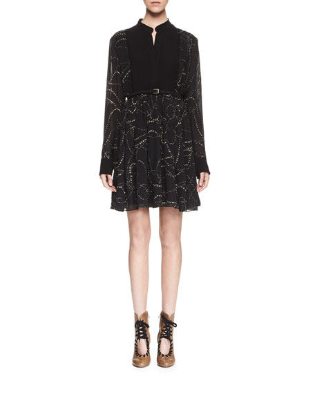 Chloe Embroidered Pintucked Long-Sleeve Dress, Black