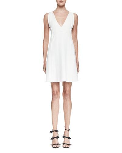 Sleeveless Tie-Back Mini Dress, White