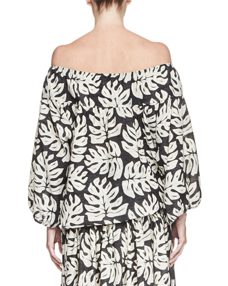 Palm-Print Off-the-Shoulder Blouse, White/Black