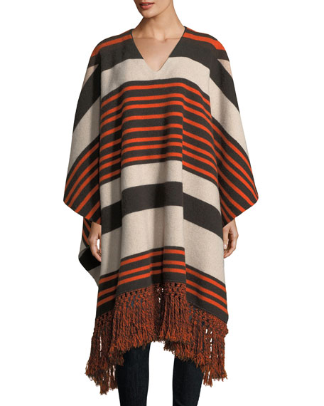 Chloe Striped Felt Fringe-Trim Poncho