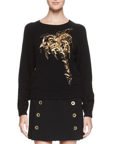 Chloe Palm Tree Crewneck Sweater, Black/Gold