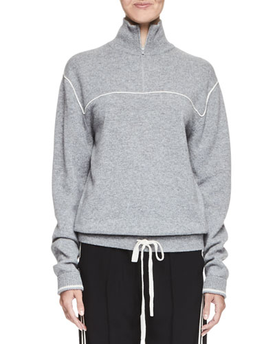 Drawstring-Hem Quarter-Zip Sweater, Gray/White