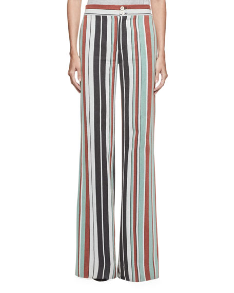 Chloe Striped Wide-Leg Trousers, Multi
