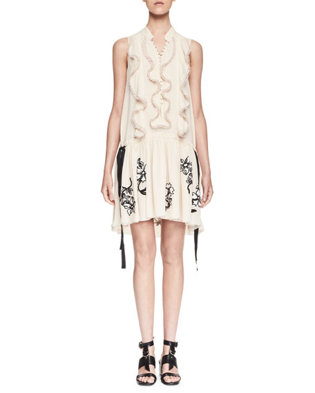 Chloe Sleeveless Ruffled Embroidered-Skirt Dress, Nude/Black