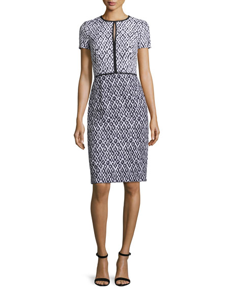 Oscar de la Renta Tweed Keyhole Sheath Dress,