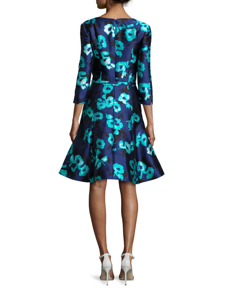 Floral 3/4-Sleeve Split-Neck Dress, Navy