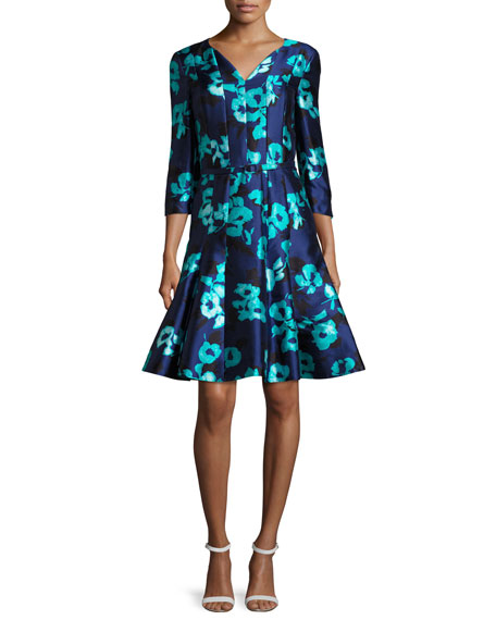 Oscar de la Renta Floral 3/4-Sleeve Split-Neck Dress,