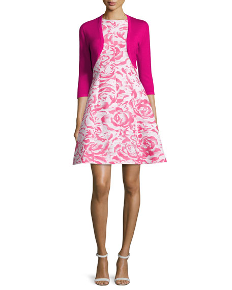 Rose-Jacquard Sleeveless A-Line Dress, Hot Pink/White