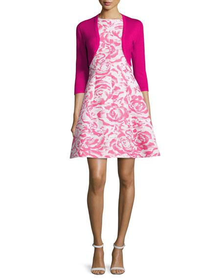 Rose-Jacquard Sleeveless A-Line Dress, Hot Pink/White