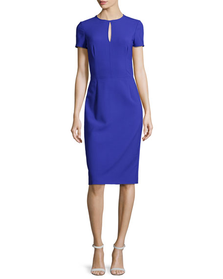 Short-Sleeve Keyhole Sheath Dress, Blue Violet