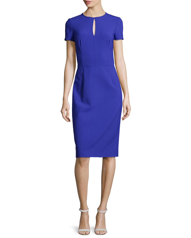 Oscar de la Renta Short-Sleeve Keyhole Sheath Dress, Blue Violet ...
