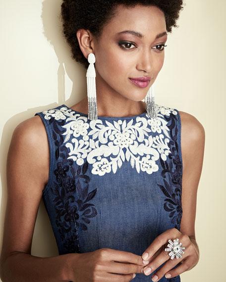 Threadwork-Embroidered Denim Dress, Blue