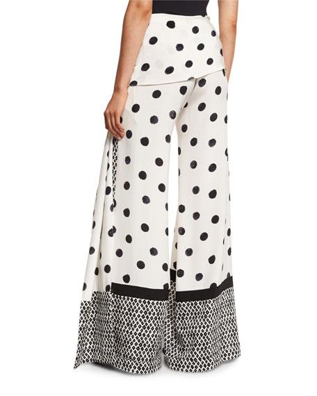 Oscar de la Renta Polka-Dot Wide-Leg Pants, Black/White