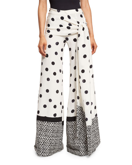 Oscar de la Renta Polka-Dot Wide-Leg Pants, Black/White