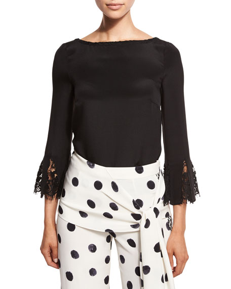 Lace-Trim Bateau-Neck Blouse, Black