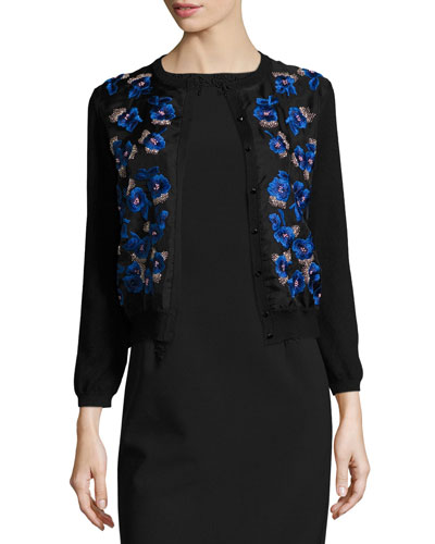 Floral-Embroidered Jewel-Neck Cardigan, Black/Navy