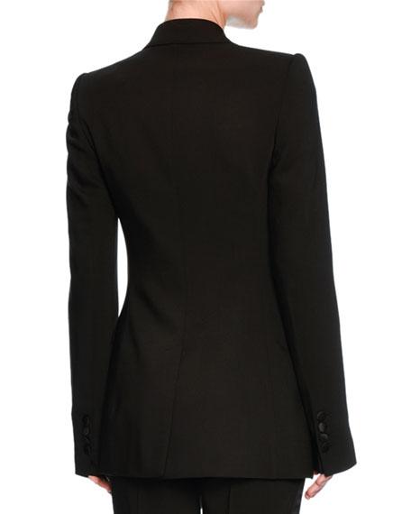 Turlington Satin-Trim Two-Button Jacket, Black