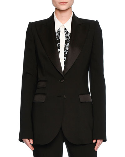 Turlington Satin-Trim Two-Button Jacket, Black Top Reviews