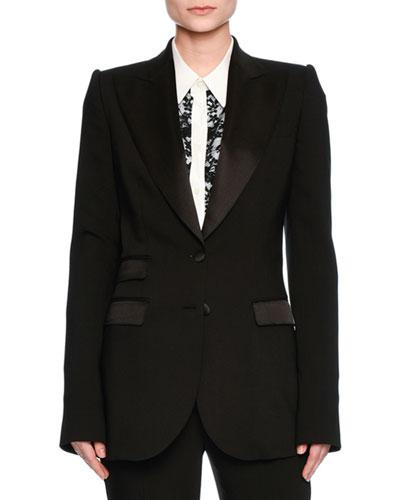 63b9460728 Dolce & Gabbana Turlington Satin-Trim Two-Button Jacket, Black