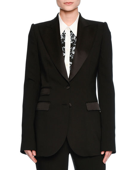 Dolce & Gabbana Turlington Satin-Trim Two-Button Jacket, Black