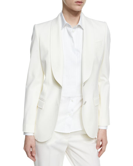 Shawl-Collar Stretch-Wool Two-Button Jacket, White