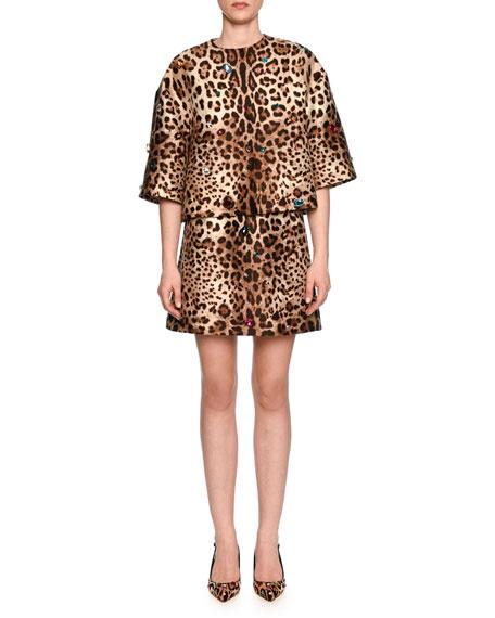 Jewel-Embellished Leopard-Print Shantung Skirt