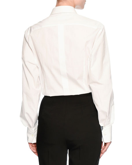 Lace-Trim Poplin Blouse, White