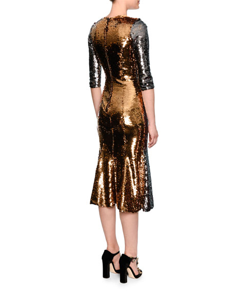 Sequined Half-Sleeve Midi Dress, Pewter/Gold