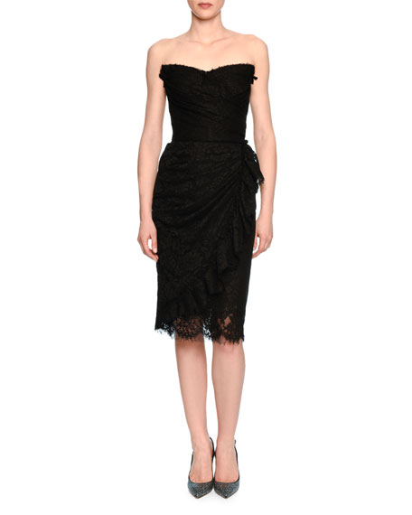 Strapless Lace Bustier Dress, Black