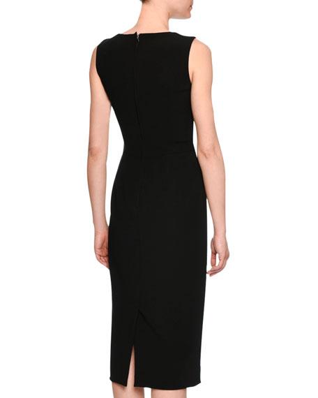 Classic Sleeveless V-Neck Sheath Dress, Black