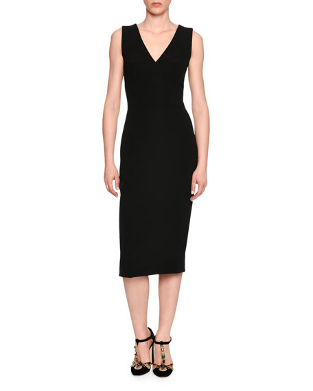 Dolce & Gabbana Classic Sleeveless V-Neck Sheath Dress,