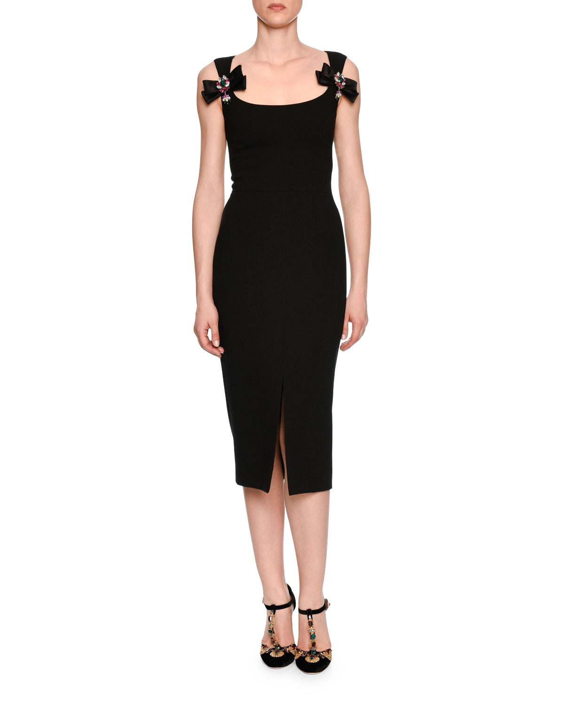Dolce & Gabbana Bow-Front Scoop-Neck Cocktail Dress, Black | Neiman ...