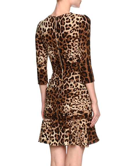 Leopard-Print 3/4-Sleeve Flounce Dress, Brown/Black Leopard