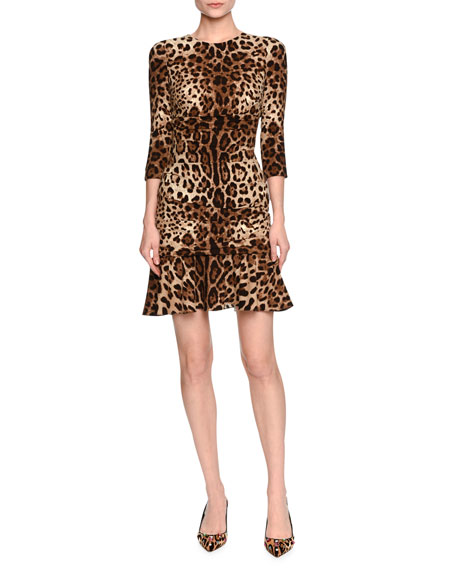 Leopard-Print 3/4-Sleeve Flounce Dress, Brown/Black Leopard