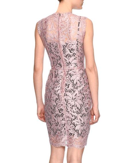 Sleeveless Floral-Lace Sheath Dress, Rose Pink
