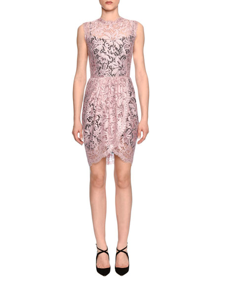 Dolce & Gabbana Sleeveless Floral-Lace Sheath Dress, Rose