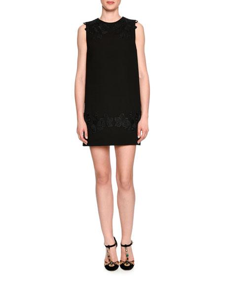 Dolce & Gabbana Lace-Trim Crepe Shift Dress, Black