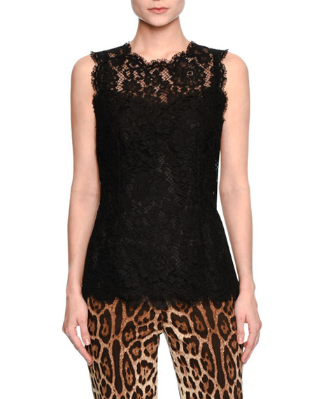 Dolce & Gabbana Floral-Lace Sleeveless Shell, Black