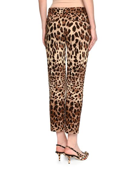 Leopard-Print Ankle Pants, Brown/Black