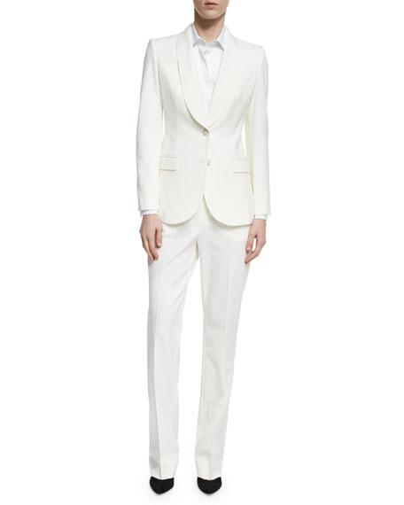 Classic Slim Stretch-Wool Trouser, White