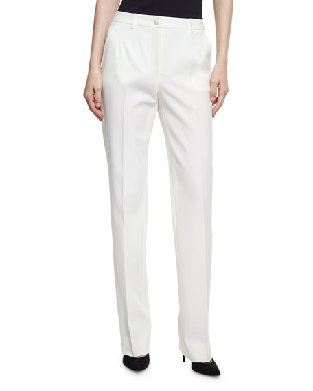 Classic Slim Stretch-Wool Trouser, White
