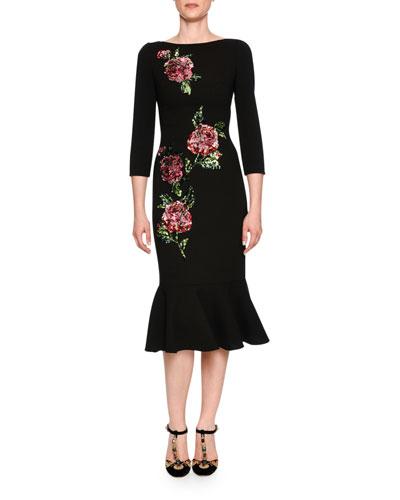 3/4-Sleeve Sequined Rose Midi Dress, Black