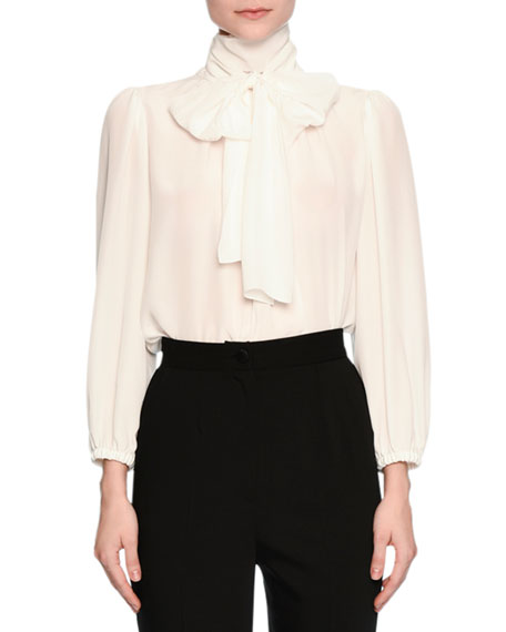 Tie-Neck 3/4-Sleeve Blouse, Ivory