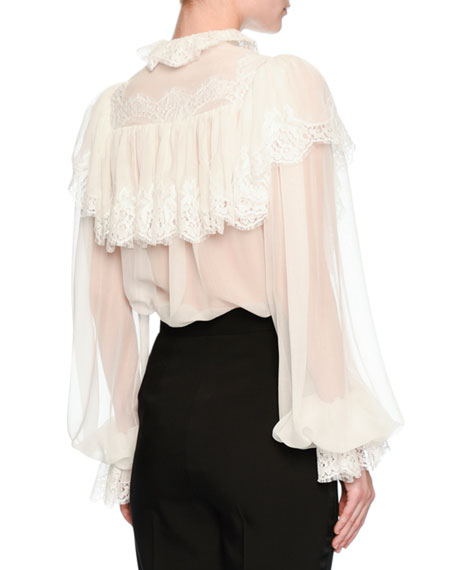 Lace-Trim Sheer Button-Front Blouse, Ivory