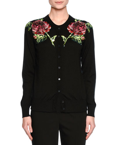 Sequined-Rose Crewneck Cardigan, Black/Pink