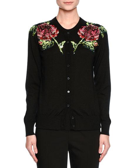 Dolce & Gabbana Sequined-Rose Crewneck Cardigan, Black/Pink